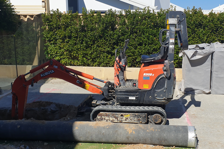 Mini Excavator poly soakwell install